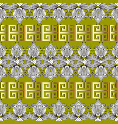 greek floral meanders seamless border pattern vector image
