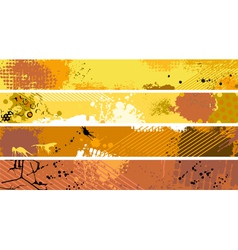 Grunge Orange Banner Set vector image