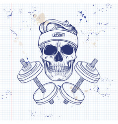 Hand drawn sketch angry sport skull vector