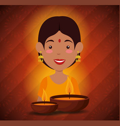 Happy diwali festival of lights with candles vector