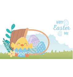 happy easter day chicken eggshell flowers eggs vector image