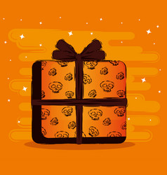 Happy halloween card with gift vector