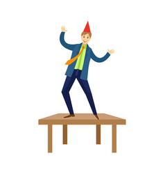 Happy man dancing on office at corporate party vector