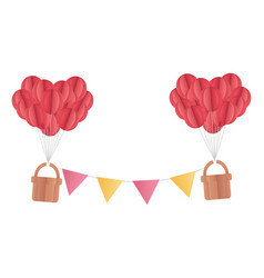 happy valentines day balloons baskets bunting vector image