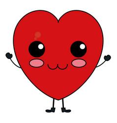 Heart cardiology kawaii character vector