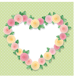 Heart frame decorated with roses on polka dots vector