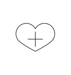 heart shape with plus sign linear icon add to vector image