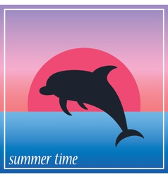 Image dolphin in the sun and ocean vector
