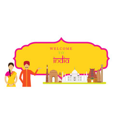 india landmarks with people in traditional vector image