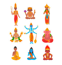 indian god set varuna brahma parvati indra vector image