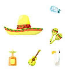 isolated object of mexico and tequila logo set of vector image