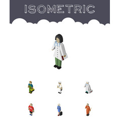 Isometric people set of plumber cleaner doctor vector