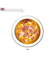 Jota or istrian stew national dish of croatia vector
