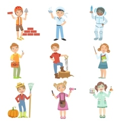 Kids And Their Dream Jobs vector image