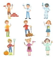 Kids and their dream jobs vector