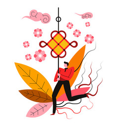 knot chinese new year symbol feng shui mascot vector image