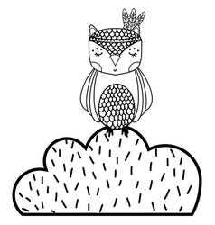 Line ethnic owl animal in bursh with flowers vector