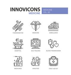 Medicine - line design icons set vector