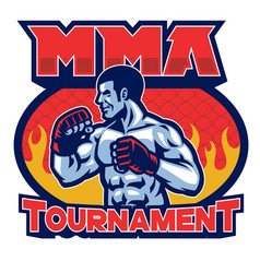 mma tournament badgedesign vector image