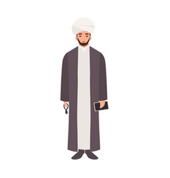 Mullah wearing turban and traditional clothes vector
