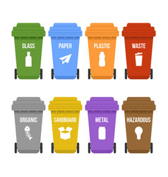 Multicolored recycle waste bins on wheels for vector