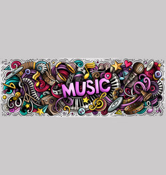 music hand drawn cartoon doodles vector image