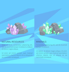 Natural resources minerals among rocks and stones vector