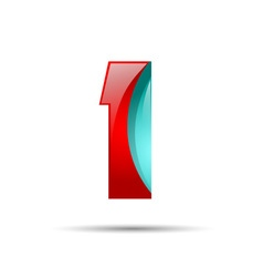 Number one 1 colorful 3d volume icon design for vector