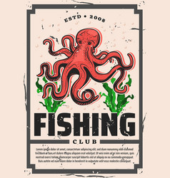 octopus fishing seafood fisher big catch vector image