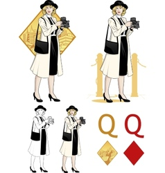 Queen of diamonds caucasian woman photographer vector image