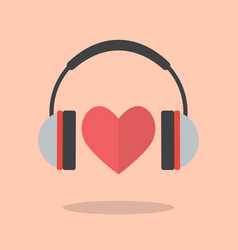 Red heart with headphones vector