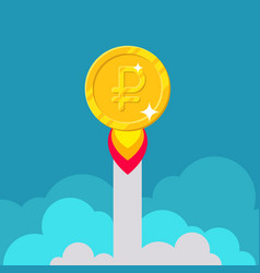 Ruble coin rocket starting vector