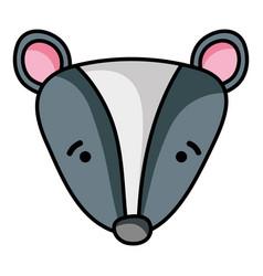 Sad skunk head wild animal vector