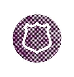 Safety shield icon with pixel print halftone dots vector