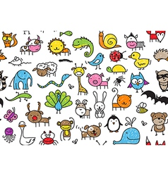 Seamless doodle animal pattern vector