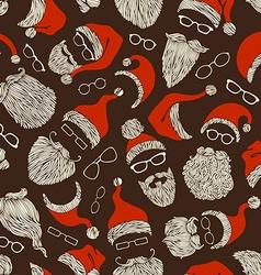Seamless pattern of Santa hats moustache beards vector image