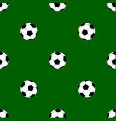 seamless pattern with soccer balls on green vector image