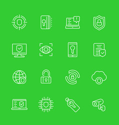 Security and protection cybersecurity line icons vector