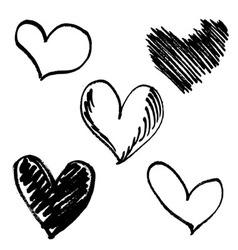Set hand drawn hearts vector image