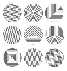 set monochrome geometric textures in circles vector image