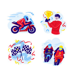 Set motorcycle racing in a flat vector