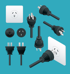 Set od plugs and sockets type i used in australia vector