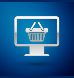 Silver computer monitor with shopping basket icon vector