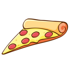 Slice pizza on white background vector