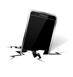 Smartphone in crack vector