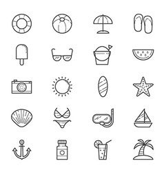 Summer Relax and Beach Icons Line vector image
