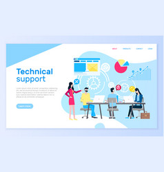 Technical support people answering questions help vector
