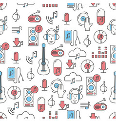 thin line art music seamless pattern vector image