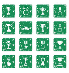 Trophy icons set grunge vector