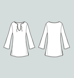 Tunic with sleeve front and back views vector